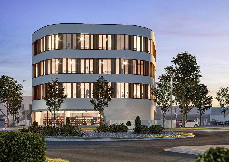 So soll das neue Büro- und Geschäftshaus auf dem ehemaligen Milchwerkarenal einmal aussehen