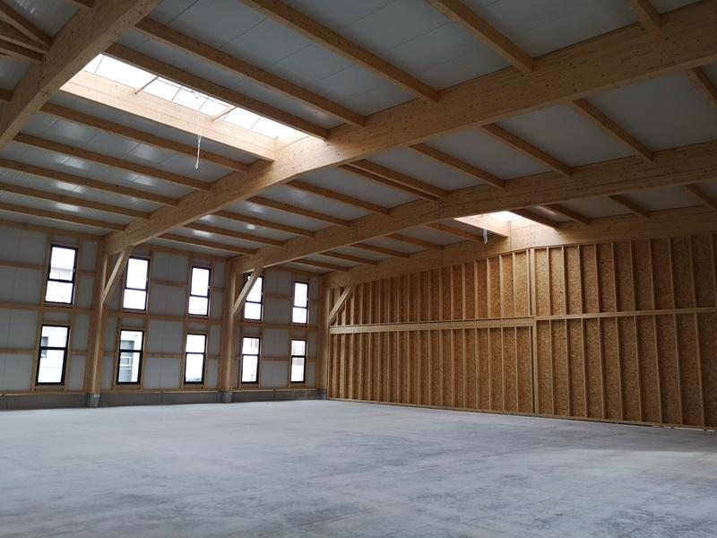 Baufortschritt Lagerhalle in Holzbauweise
