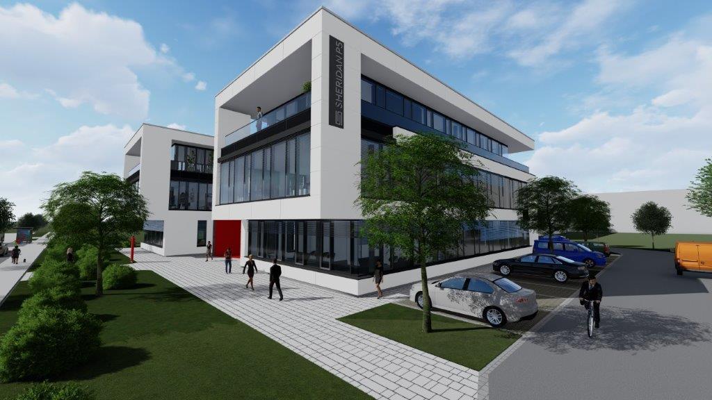 Im Sheridan Park Augsburg entsteht eine neue Gewerbeimmobilie, begleitet von Peter Wagner Immobilien