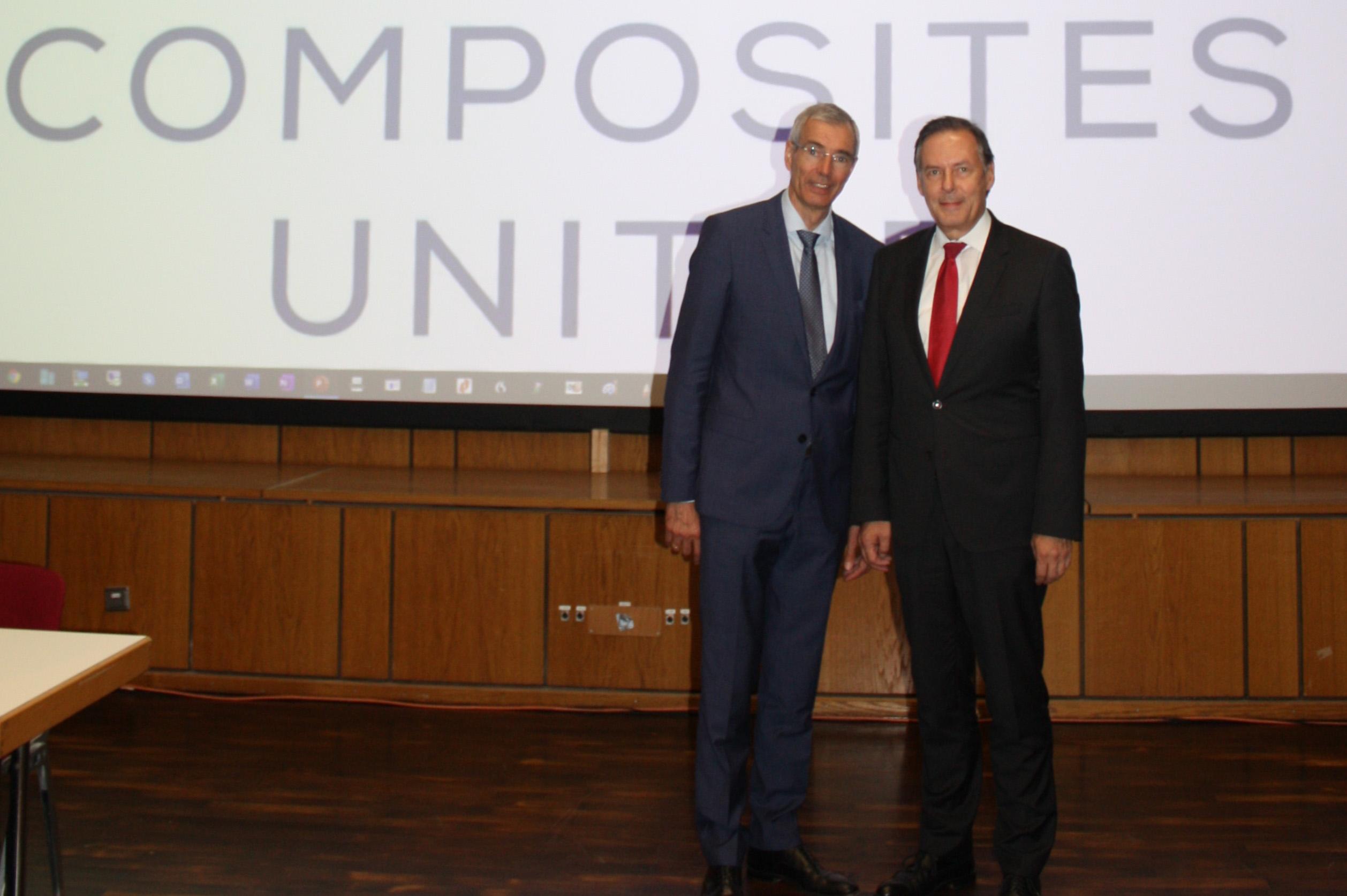 Gemeinsam für den Composits United e.V.- die beiden Hauptgeschäftsführer Alexander Gundling (li.) und Dr. Gunnar Merz (re.)