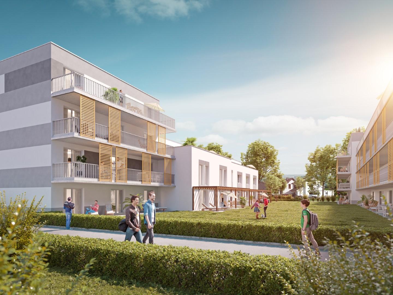 Neue Wohnhäuser auf ehemaligem CEMA-Areal in Ausburg.