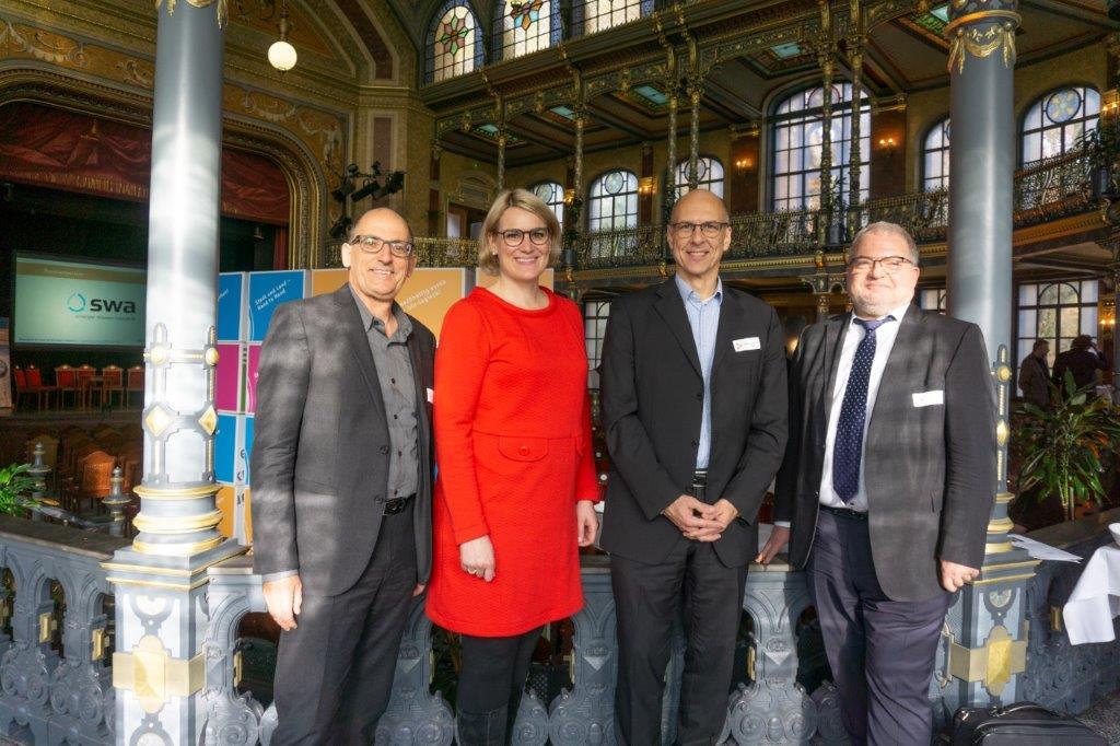 V.l.n.r. Reiner Erben, Eva Weber, Prof. Dr. Dr. Christian Berg und Andreas Thiel auf dem Nachhaltigkeitstag Wirtschaft 2019.