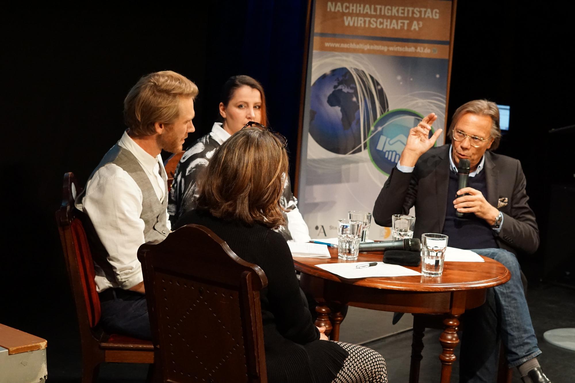Podiumsdiskussion mit Prof. Dr. Harald Welzer auf dem 2. Nachhaltigkeitstag Wirtschaft A³.