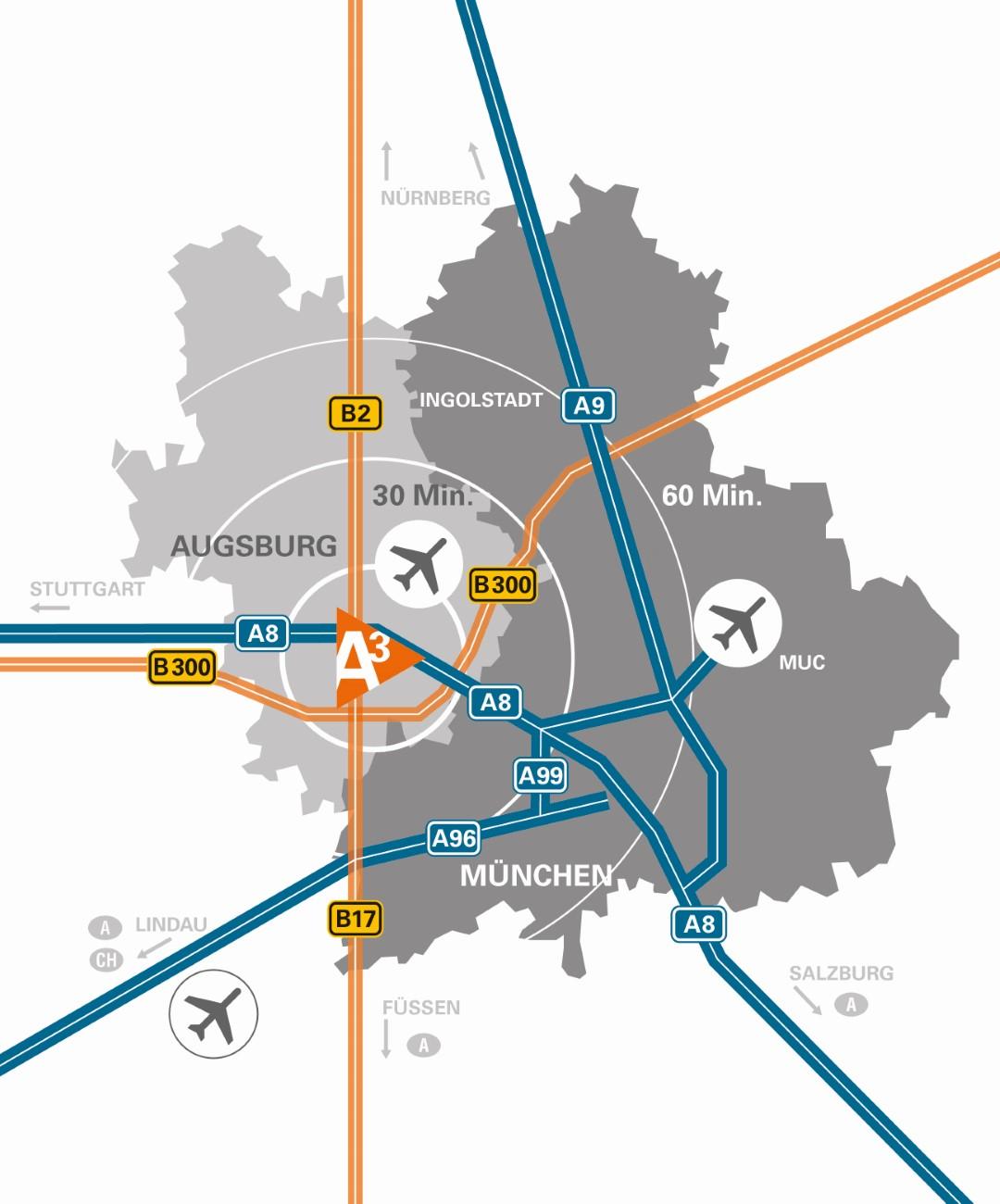 A³ Karte mit Flughafen (2021)