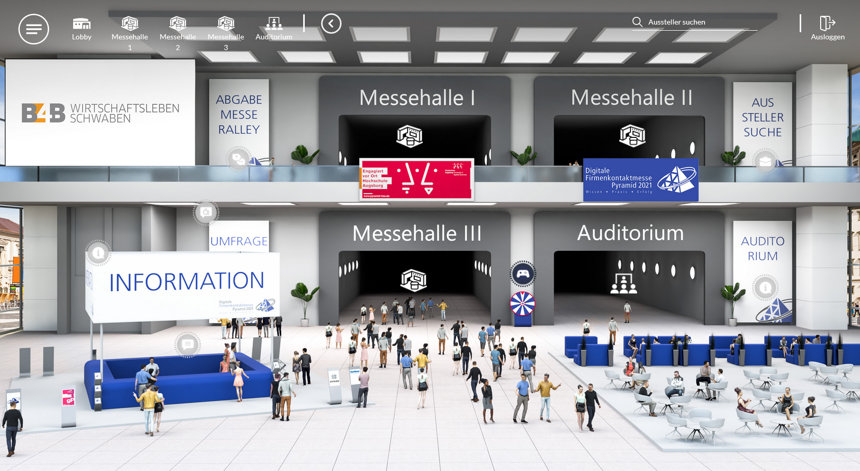 Eingangshalle der Firmenkontaktmesse Pyramid