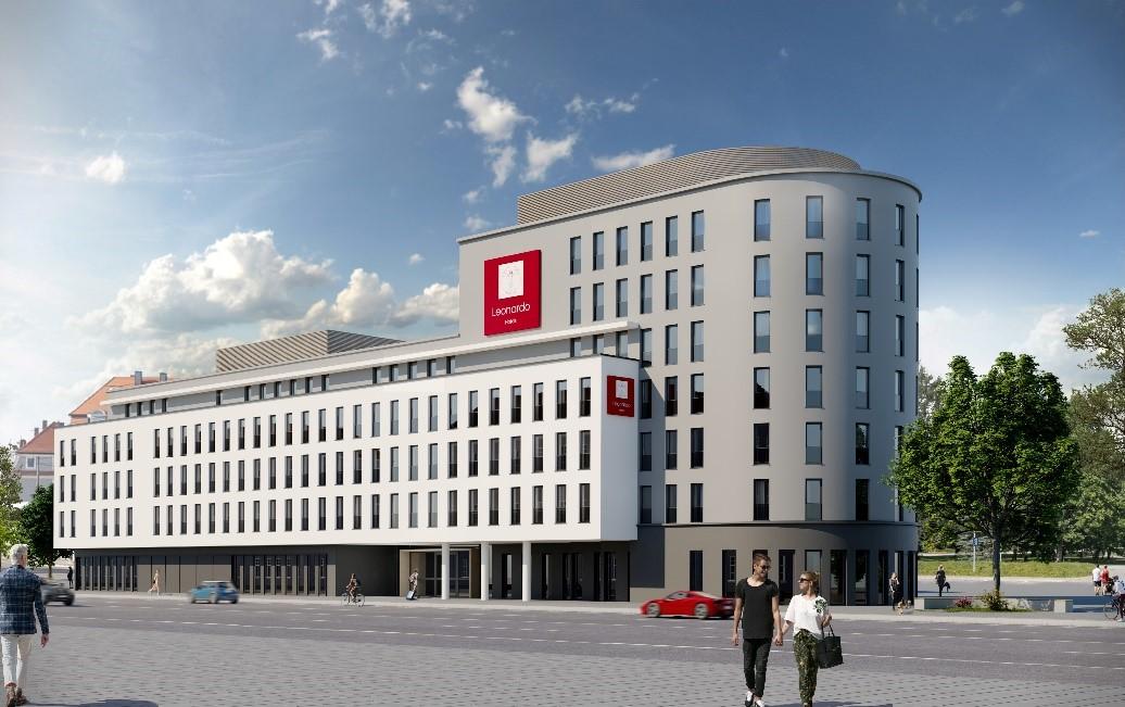 Ein Rendering der Außenansicht des zukünftigen Leonardo Hotels in Augsburg
