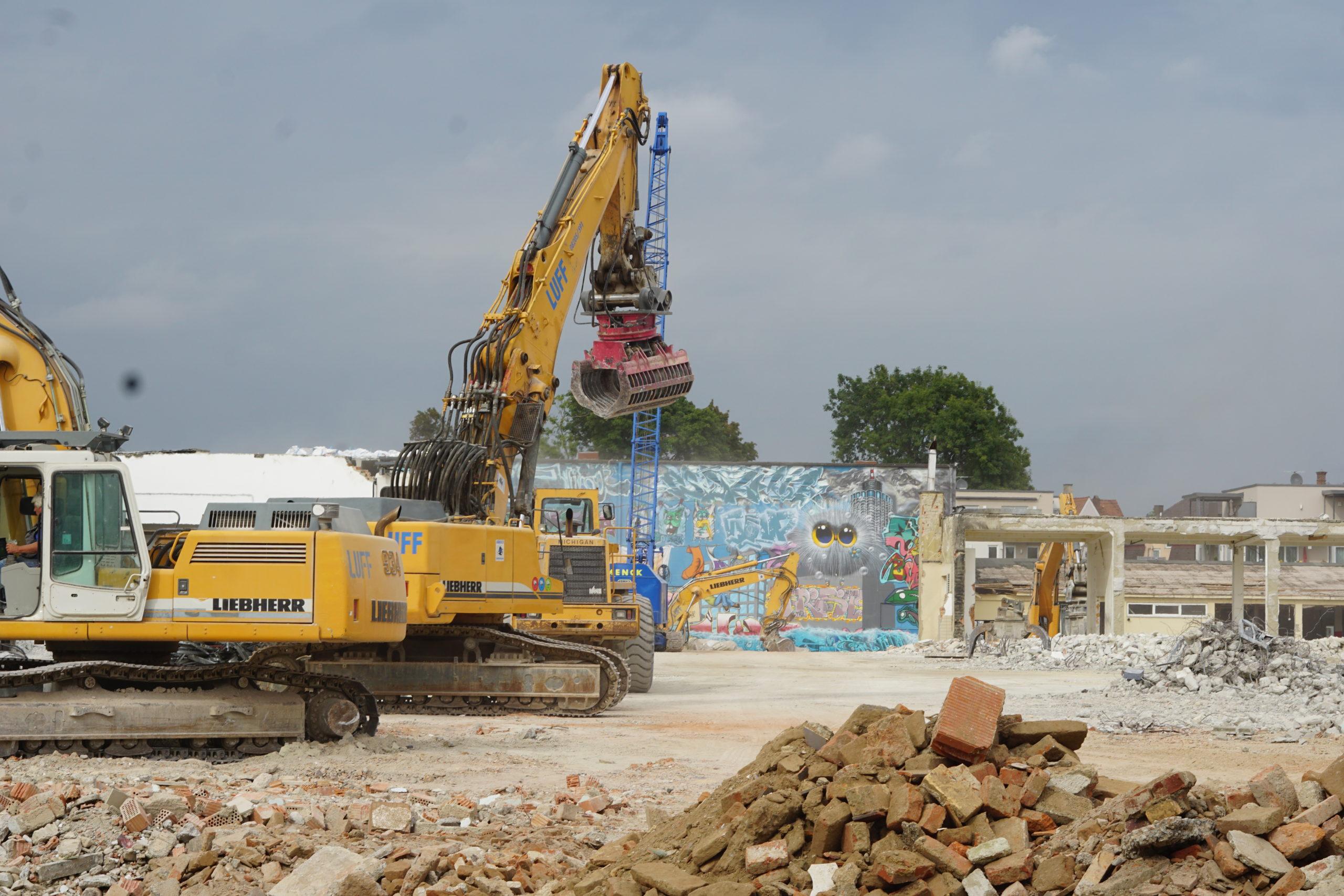 Abbrucharbeiten auf dem Dierig-Areal in Augsburg Pfersee, Sept. 2021