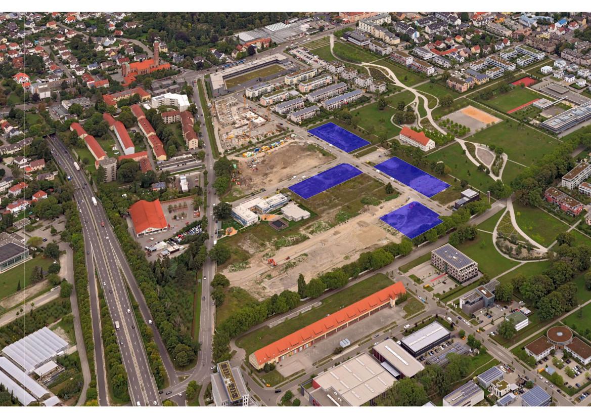 Die vier Bauflächen im Nordwesten des Sheridan Parks werden im sogenannten Konzeptvergabeverfahren vergeben.