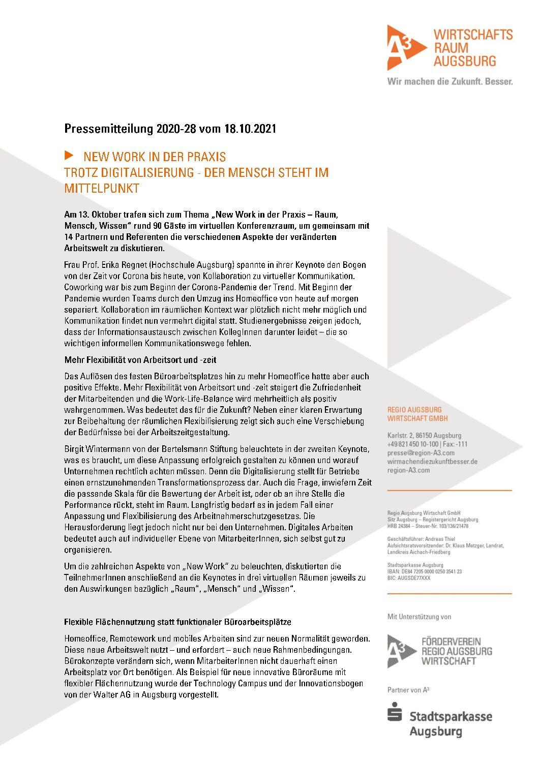 Regio_28_Pressemitteilung_New Work in der Praxis